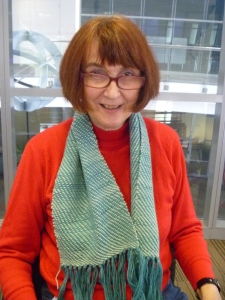 Shelia completed a scarf, not a pot holder, like she thought she would!!