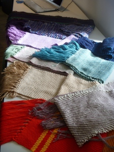 Nine finished scarves